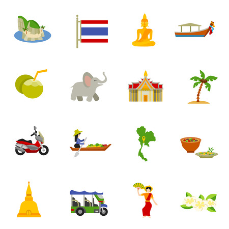 thai orchid: Thailand icons set with elephants coconuts beaches and boats flat isolated vector illustration Illustration
