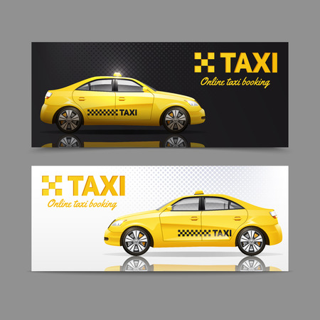 taxi: Taxi service horizontal banner set with yellow cars with reflection isolated vector illustration