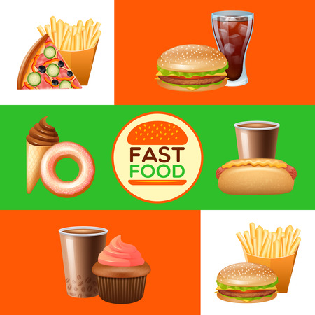 food illustrations: Fast food restaurant menu with pizza and hot djg flat horizontal banners set abstract isolated vector illustration Illustration