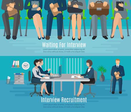 채용 인터뷰를 위해 평면 요소를 기다리는 사람들 고립 된 벡터 일러스트와 함께 채용 과정 가로 배너 세트