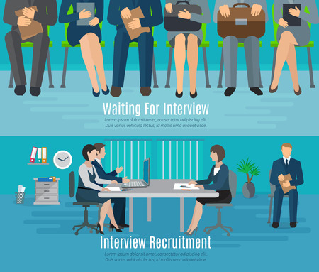 interview: Hiring process horizontal banner set with people waiting for recruitment interview flat elements isolated vector illustration