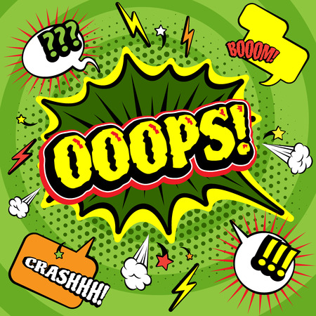 lightening: Big green jagged oops bubble comics  poster print with lightening and crash boom exclamations abstract vector illustration Illustration