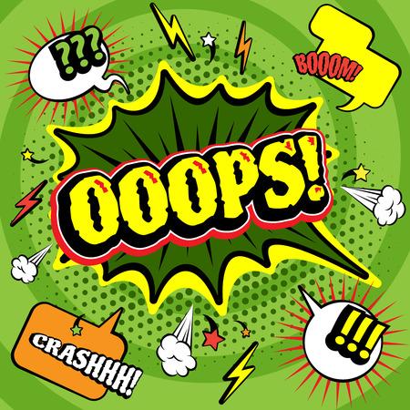 comic: Verde grande irregular Uy cartel c�mics burbuja imprimir con aligeramiento y auge accidente exclamaciones abstracto ilustraci�n vectorial Vectores
