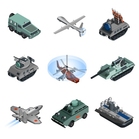 Military equipment isometric set with helicopter armoured vehicle truck isolated vector illustration