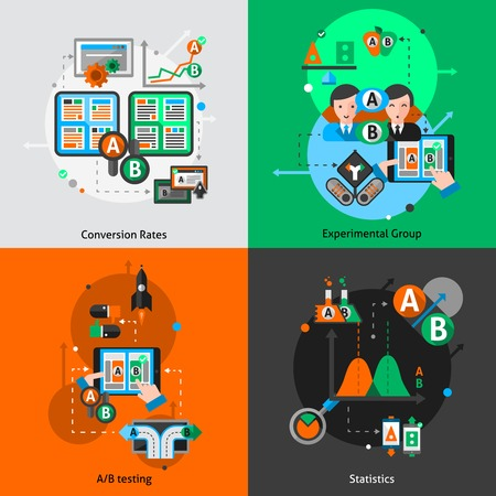 A-b testing design concept set with convertion rates experimental group and statistics elements isolated vector illustration