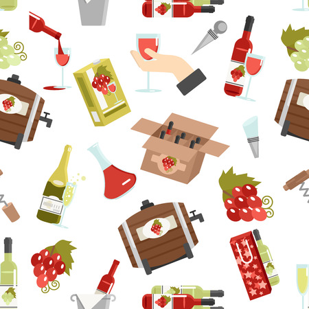 accessory: Wine in bottles kegs and glasses with accessories color seamless pattern vector illustration