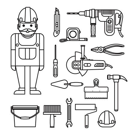 repairs: DIY home repairs power and hand tools decorative set in line style with workman isolated vector illustration Illustration