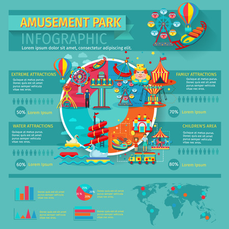 water wheel: Amusement park infographics set with family attractions symbols and charts vector illustration