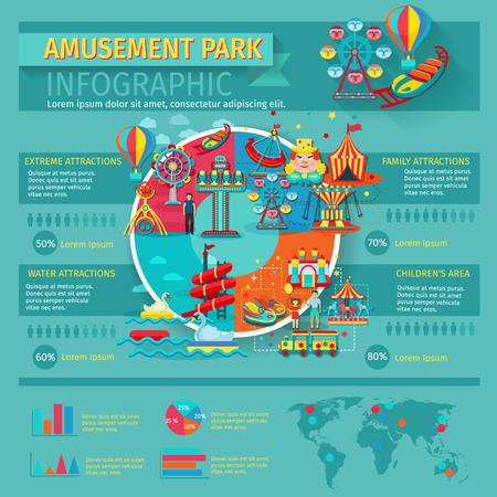Pretpark infographics set met familie attracties symbolen en grafieken vector illustratie
