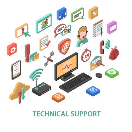tecnolog�a informatica: Concepto de apoyo t�cnico con s�mbolos de comunicaci�n 3d set ilustraci�n vectorial aislado Vectores