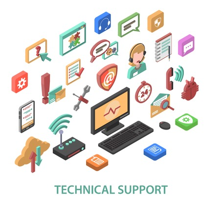 contact information: Technical support concept with 3d communication symbols set isolated vector illustration