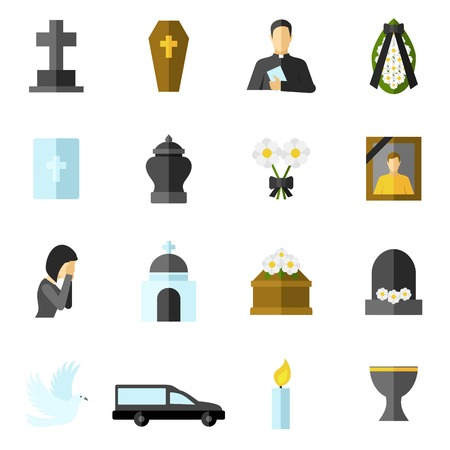 funeral: Funeral ceremony and death flat icons set isolated vector illustration