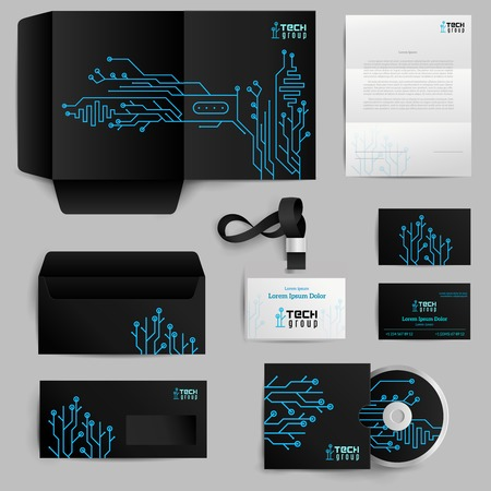 Corporate identity realistic elements set with technology pattern isolated vector illustration