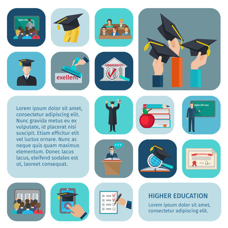 education: Higher education icons flat set with examination and learning symbols isolated vector illustration