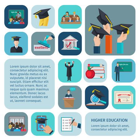 educaci�n: Iconos de educaci�n superior plana establecen con los ex�menes y de aprendizaje s�mbolos aislados ilustraci�n vectorial