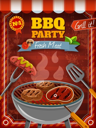 hot grill: Barbecue party poster with hot meat and sausages on grill vector illustration