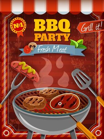 chorizos asados: Cartel del partido de la barbacoa con la carne caliente y salchichas en la parrilla ilustraci�n vectorial