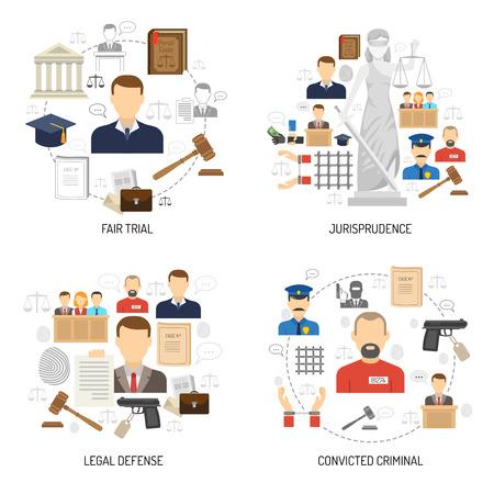 法学法的防衛と囚人 4 フラット アイコン構成抽象的な分離ベクトル イラストで公正な試験プロセス
