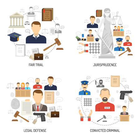 jurisprudencia: Jurisprudencia proceso de juicio justo con la defensa legal y condena de 4 iconos planos composición abstracta ilustración vectorial