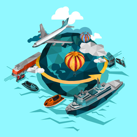 Transporte por agua aire y suelo alrededor de la ilustración vectorial aislado concepto del mundo
