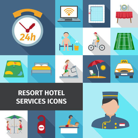 resort: Hotel and resort services staff restaurant sport cleaning symbol flat color icon set isolated vector illustration Illustration