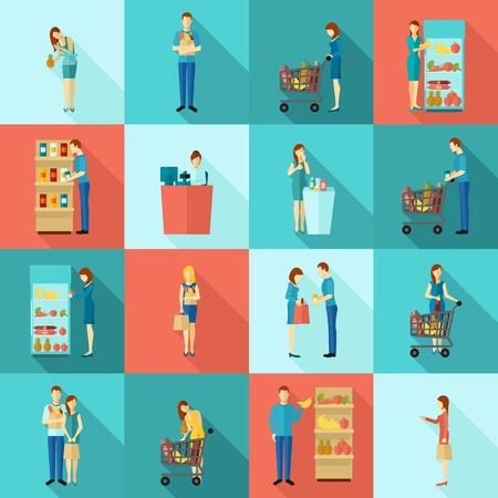 woman shopping cart: Buyers and customers human shopping and billing scene flat color long shadow icon set isolated vector illustration
