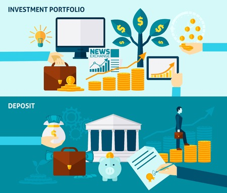 bourse: Investment portfolio exchange news and deposit or accumulation flat color horizontal banner set isolated vector illustration