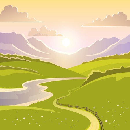 rural scene: Mountain landscape background with river road and meadow flat vector illustration Illustration