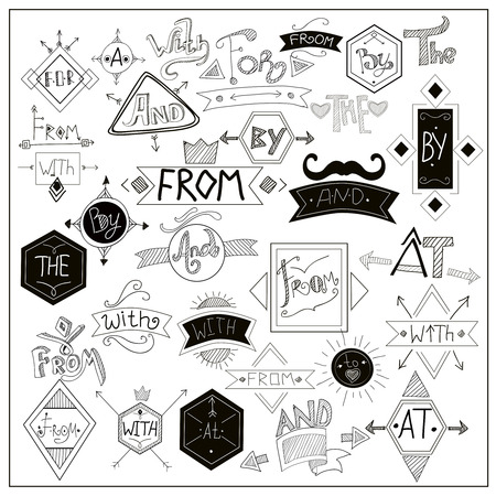 encapsulate: Locators from with catchwords with heart love and black moustaches symbols composition on whiteboard abstract vector illustration Illustration