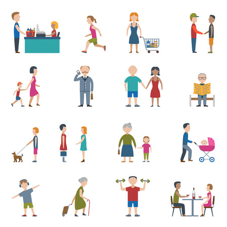 People lifestyle man and woman in work and daily situation flat color icon set isolated vector illustration Illustration