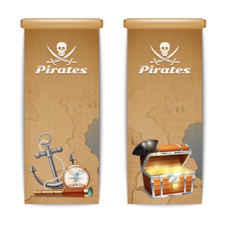 mapa del tesoro: Bandera conjunto vertical de pirata con símbolos de la caza del tesoro retro aislado ilustración vectorial