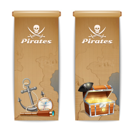 pirates flag design: Pirate banner vertical set with retro treasure hunt symbols isolated vector illustration