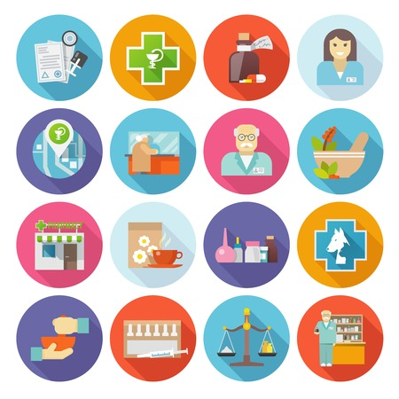Pharmacist flat icons set with drugs and pills production symbols isolated vector illustration