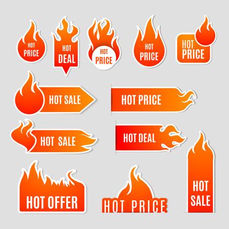 Afastamento de venda de fogo e chama e ícone de plana de rótulos de texto quente negócio definir ilustração vetorial isolado