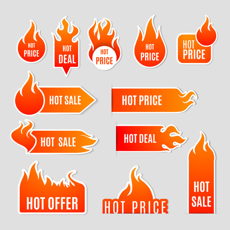 hot: Fire and flame sale clearance and hot deal text labels flat icon set isolated vector illustration