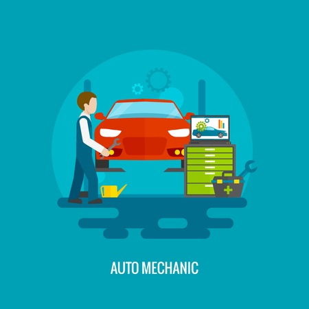 mechanic tools: Auto mechanic in repair service center with car and working tools flat vector illustration