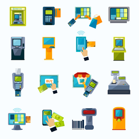 bank withdrawal: Automated payment machine flat icons set with bank credit card money withdrawal system abstract isolated vector illustration