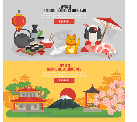 asian culture: Japanese national tradition and flavor nature and architecture flat banner set isolated vector illustration