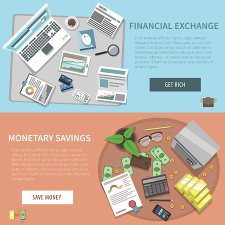 monetary: Bank horizontal banner set with financial exchange monetary savings elements isolated vector illustration