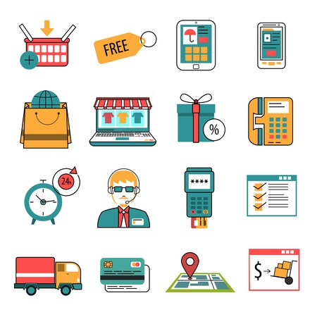 Online commerce and internet marketing icons outline set isolated vector illustration Illustration