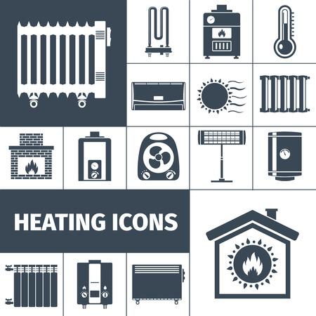 insolación: Aparatos de calefacción de la caldera chimenea radiador hogar cálido plana negro silueta ilustración vectorial aislado icono decorativo conjunto Vectores