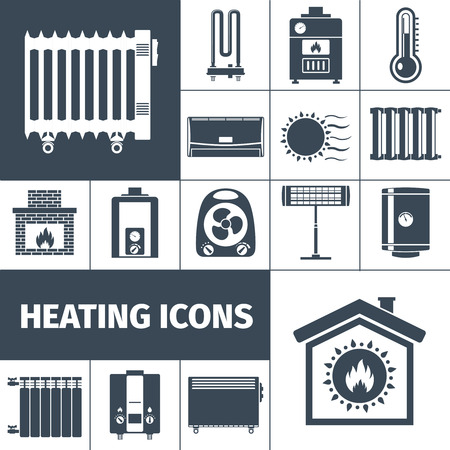 fireplace: Heating devices boiler radiator fireplace warm home flat black silhouette decorative icon set isolated vector illustration