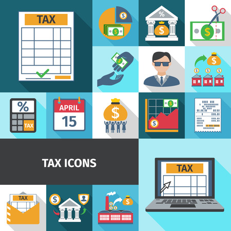 Tax charge fees and payment date flat color long shadows icon set isolated vector illustration