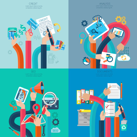 office documents: Seo credit and analysis concept with human hands holding business objects and symbols isolated vector illustration