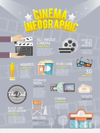 film projector: Cinematography film production history information media storage and rewards infographic  decorative poster print flat abstract vector illustration Illustration