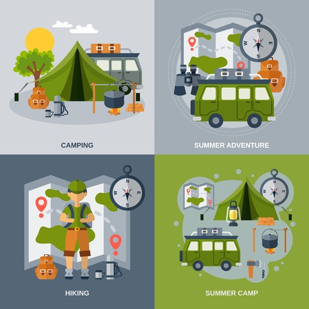 Camping design concept set with hiking and summer adventure flat icons isolated vector illustration