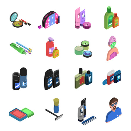 personal care: Body care cosmetic personal hygiene deodorant and perfume color isometric icon set isolated vector illustration