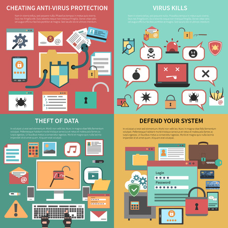 security icon: Defending against attacking antivirus software and data theft 4 flat icons square composition banner abstract vector illustration. Editable EPS and Render in JPG format Illustration