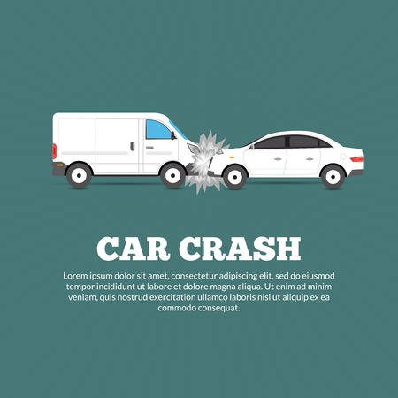 autos: Car crash accident poster with two damaged autos flat vector illustration Illustration