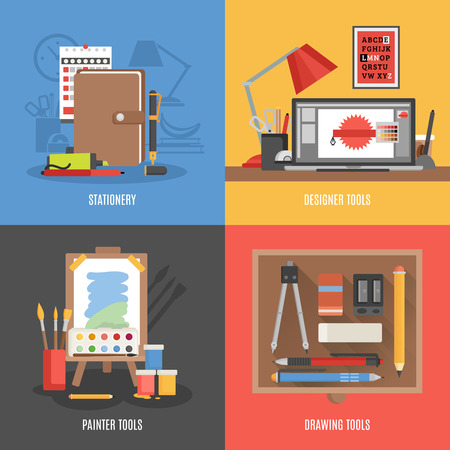inc: Drawing painter and designer tools flat color icon set isolated vector illustration
